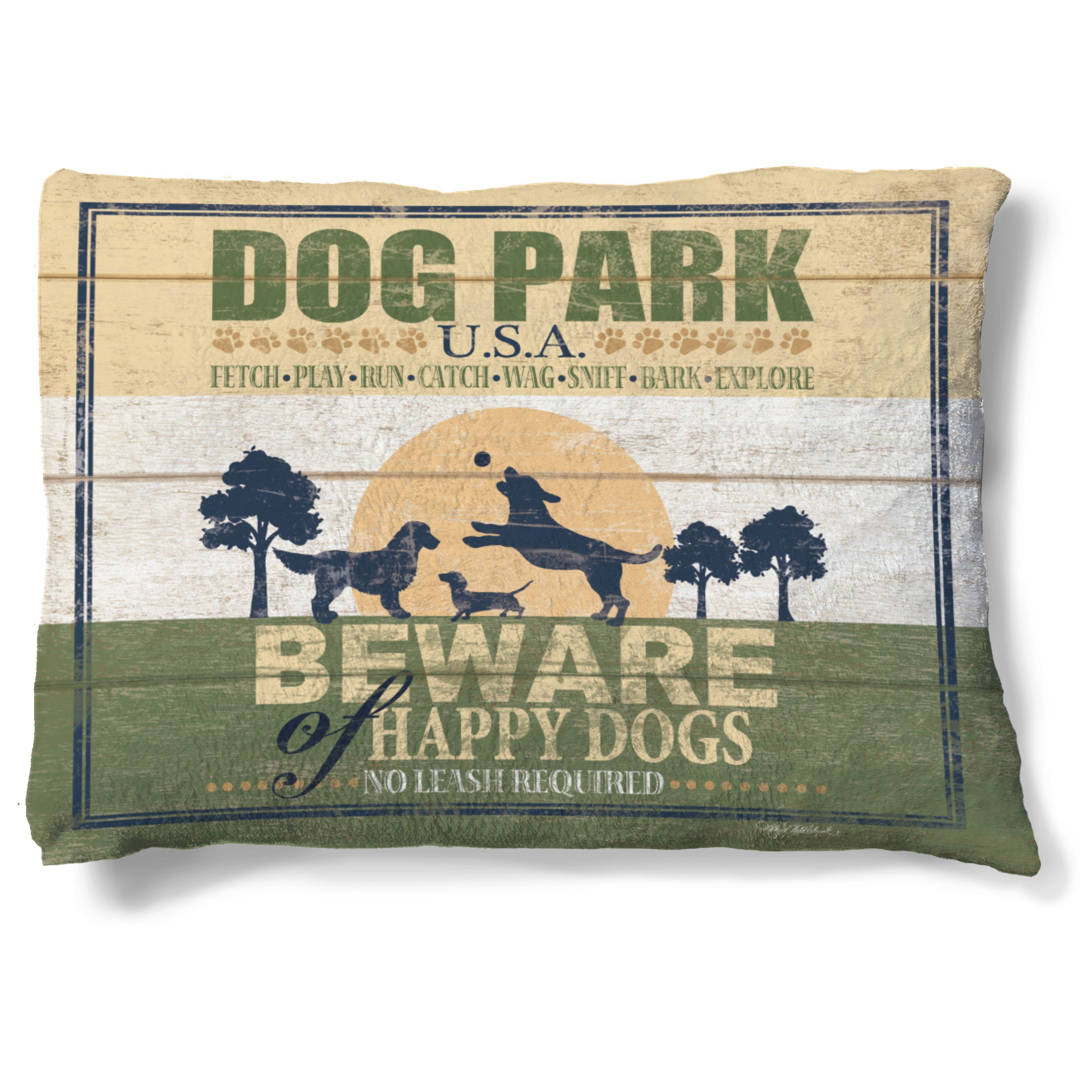 Show your furry family member how much you care when you designate this plush fleece bed as his special sleeping place. Perfectly sized for a medium breed's body, this washable and durable dog park-th