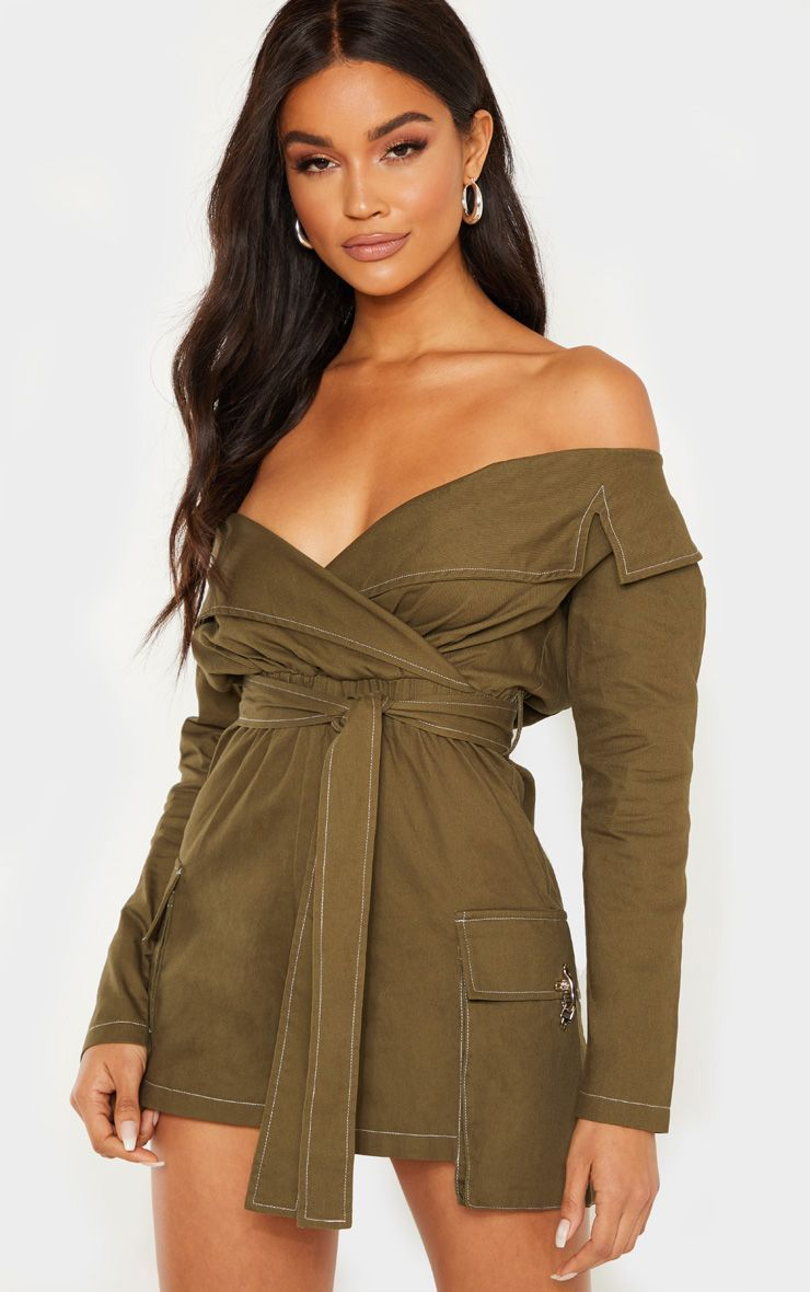 c8d2065e2aed9 Khaki Utility Tie Waist Bardot Playsuit in 2019 | Products | Fashion ...
