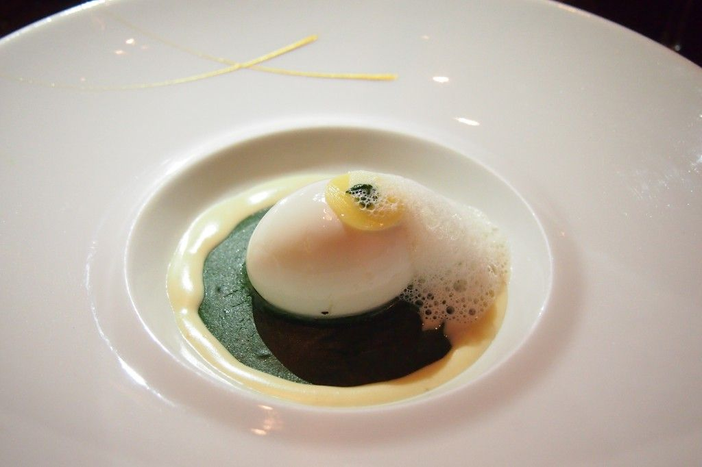Soft-boiled egg with comté cheese and watercress velouté @ L'Atelier de Joël Robuchon