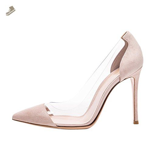 Womens Fashion Genuine Leather Square Heels Pointed Toe High Heels Evening Pumps