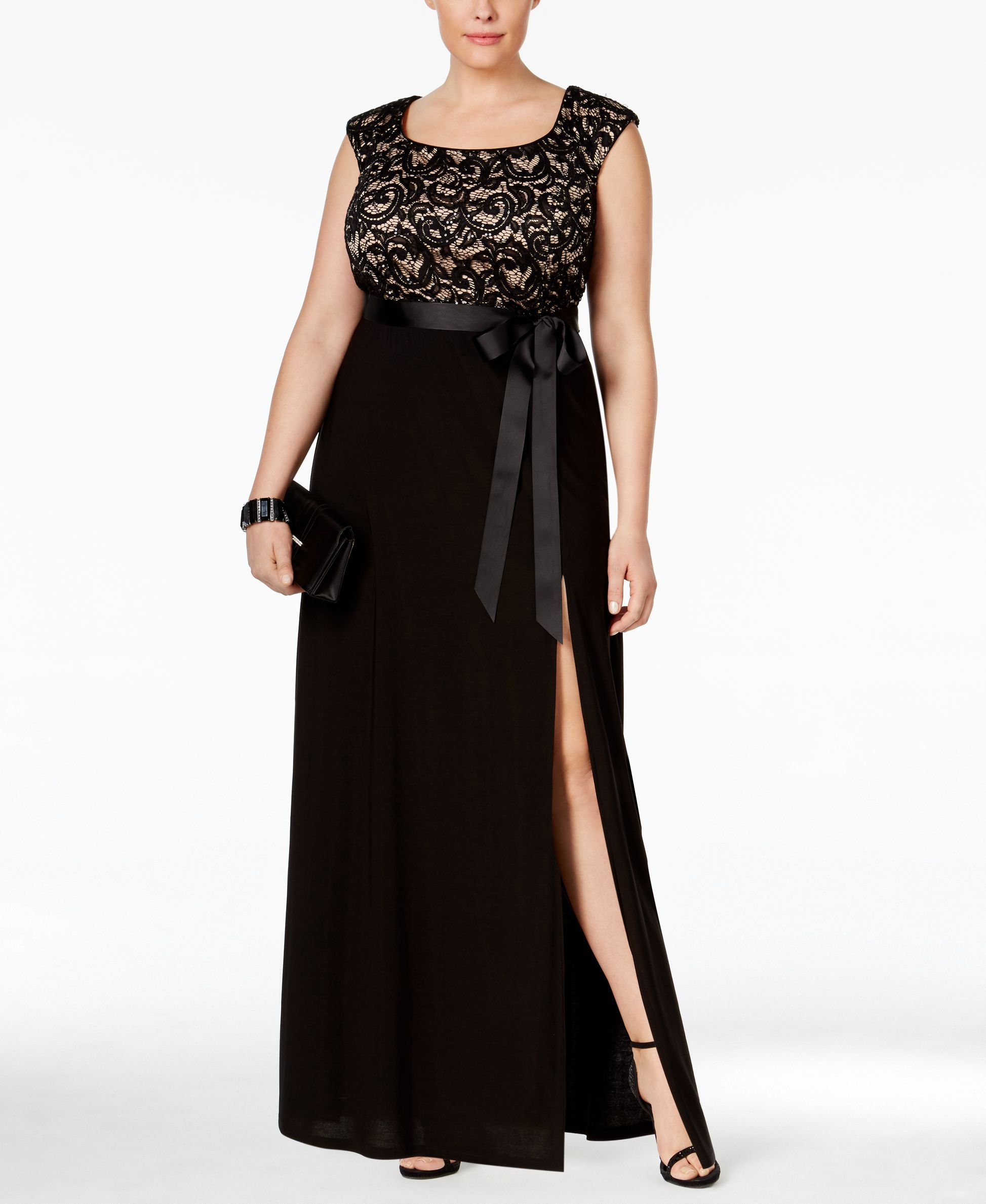 R u m richards plus size capsleeve lace bodice gown products