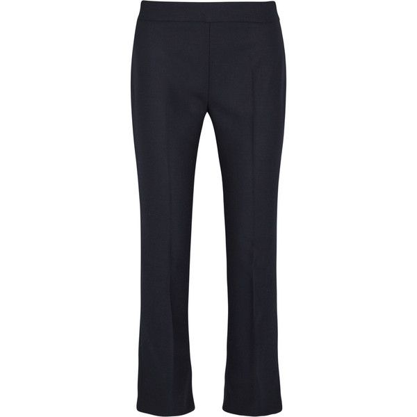 Max MaraCropped Stretch-wool Flared Pants (€250) ❤ liked on Polyvore featuring pants, midnight blue, maxmara pants, flared pants, cropped trousers, flared cropped pants and flared trousers