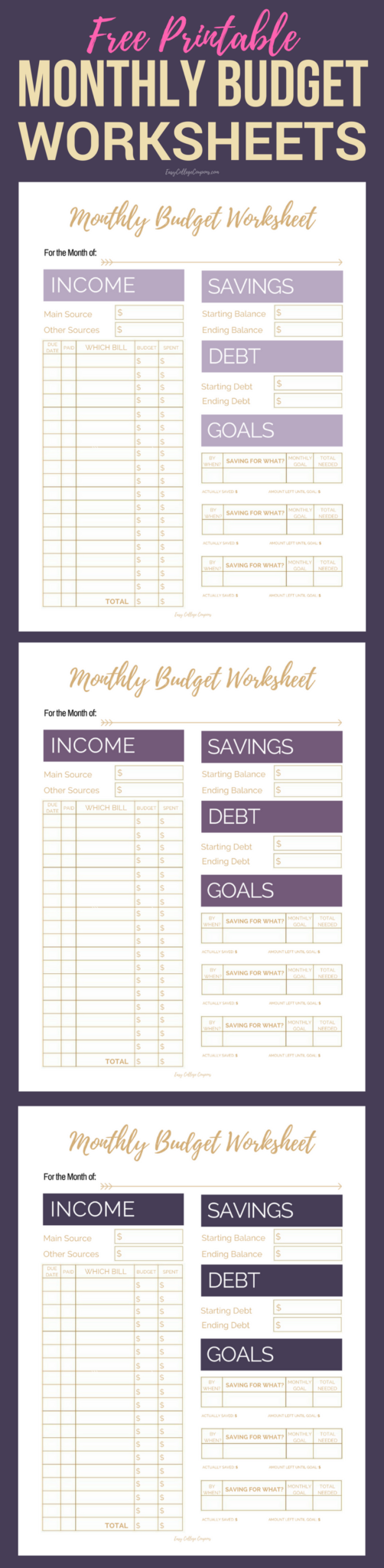 Free Printable Budget Worksheet, Sheets, Planner | Simple College Budgeting  | Finance, Saving Money #budeting #budgetlife #frugalliving #freeprintables  #