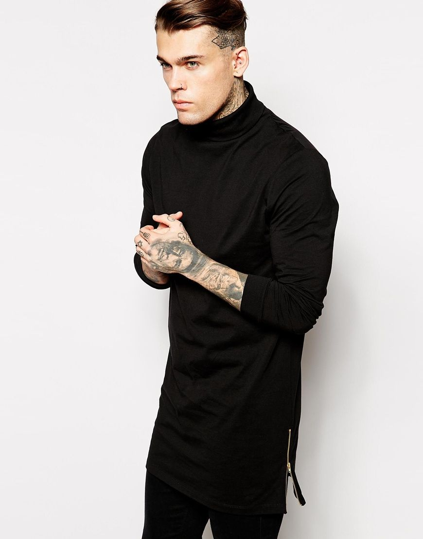 ASOS Super Longline Long Sleeve T-Shirt With Roll Neck And Side Zips