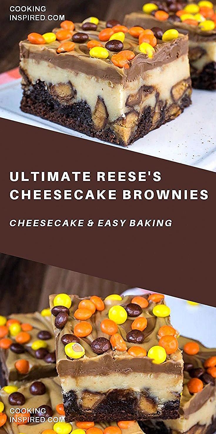 Swirls of chocolate and peanut butter make these Ultimate Reeses Cheesecake Brownies absolutely irresistible These brownies always disappear in a hurry at parties and eve...