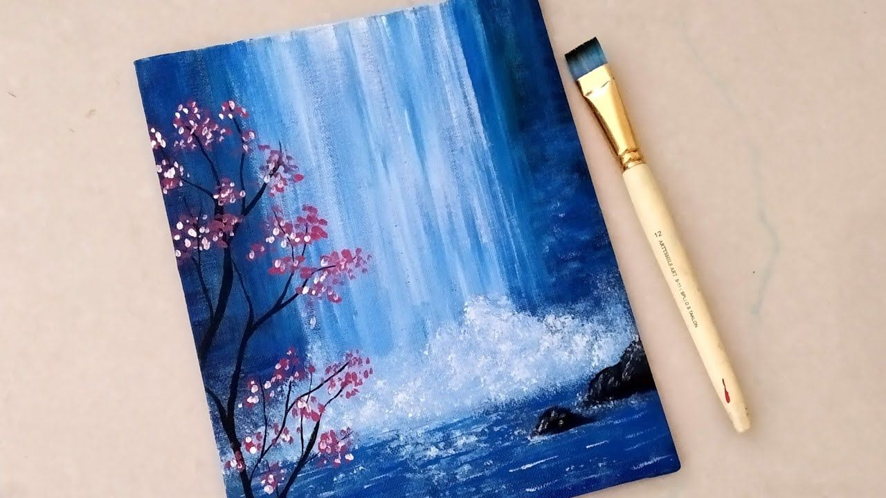 Easy Waterfall Landscape Painting Tutorial For Beginners Step