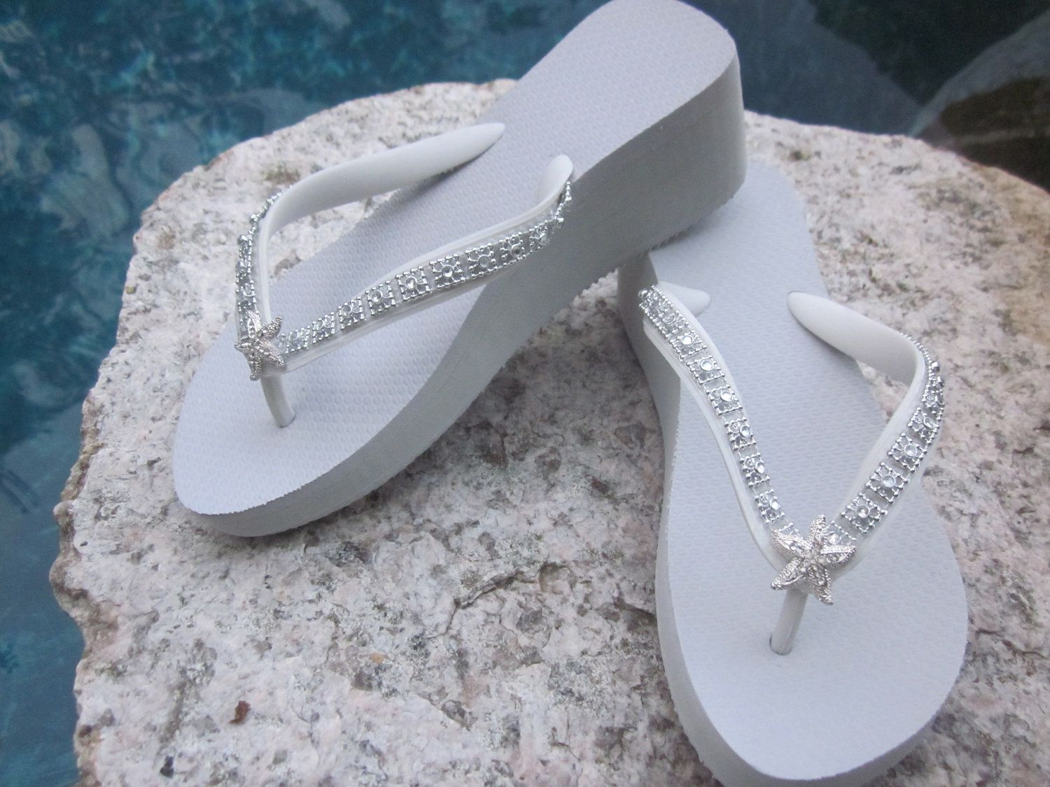 80d3d619002 Wedding Shoes Flip Flops  Wedges for Bride.White Flip Flops. Rhinestone  Starfish.Beach Flip Flops. Wedding Flip Flops. 2.5 INCH HEEL..  38.00