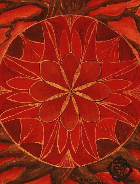 1st Mandala - Root Chakra Painting by Jennifer Christenson - 1st Mandala - Root Chakra Fine Art Prints and Posters for Sale