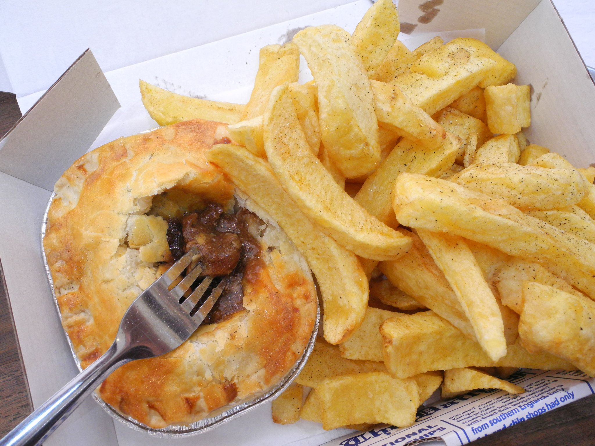 Kennedy's Tooting   Steak and kidney pie, Food, Pie and chips