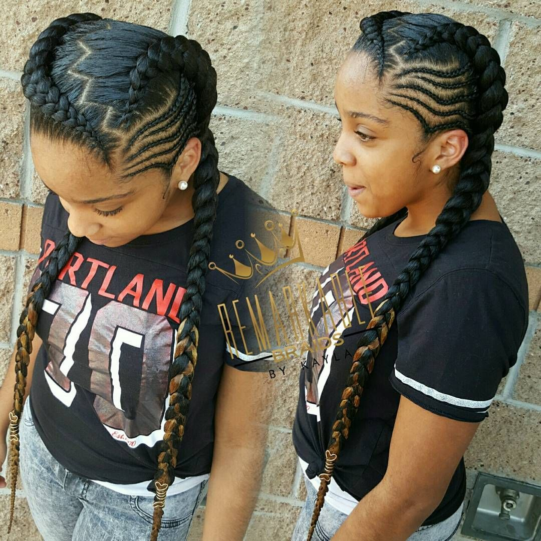 Two Feed In Braids With Small Cornrows On The Sides Fashion She Say It Remind Her Of Iamcardib Hai Two Braid Hairstyles Braided Hairstyles Cornrow Hairstyles