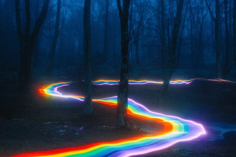 Vibrant Rainbow Roads Illuminate Forests And River Bends Into Magical Landscapes With Images Rainbow Road Rainbow Aesthetic