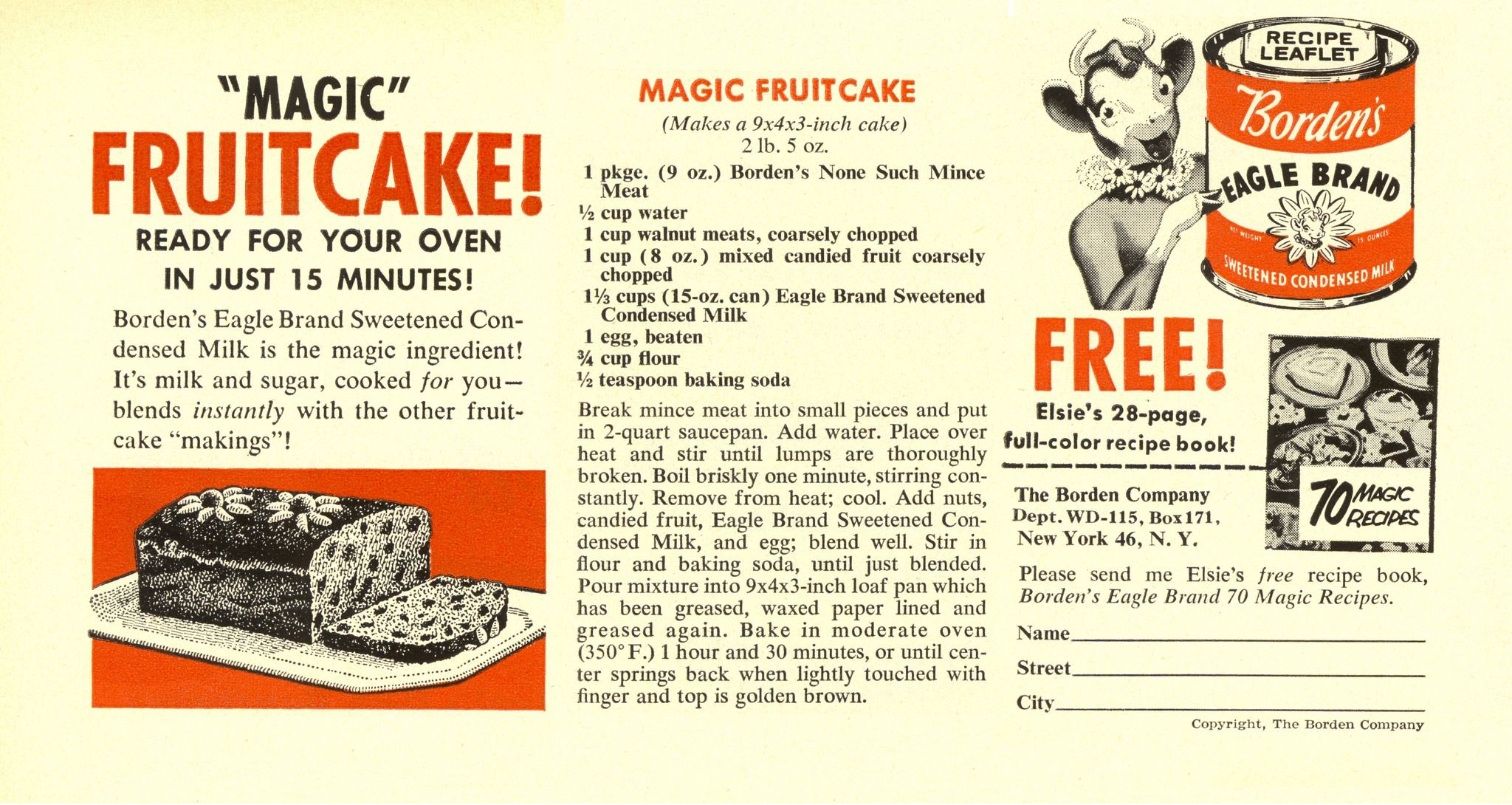 Women S Day Nov 1955 Fruit Cake Fruitcake Recipes Eagle Brand