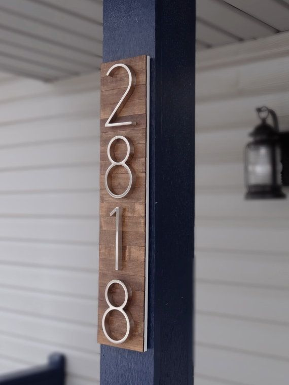Modern House Numbers Plaque On Stained Wood House Numbers Modern House Number House Number Plaque