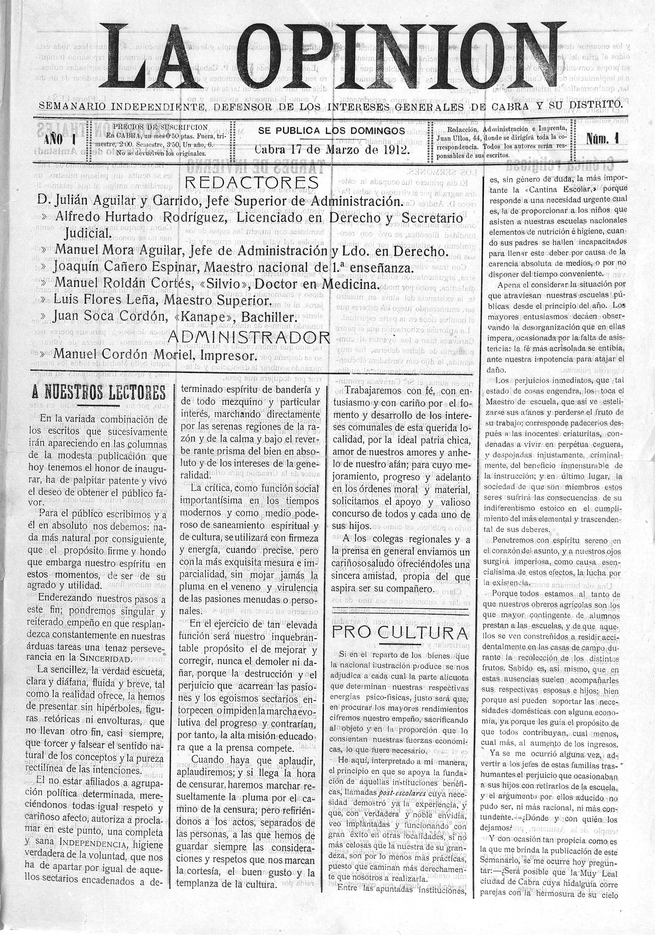 Portada del primer número publicado el 17 de marzo de 1912