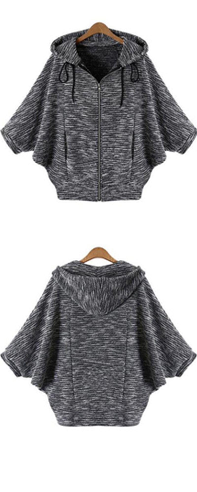 Black Hooded Batwing Sleeve Sweater Coat | Casual styles, Hoods ...