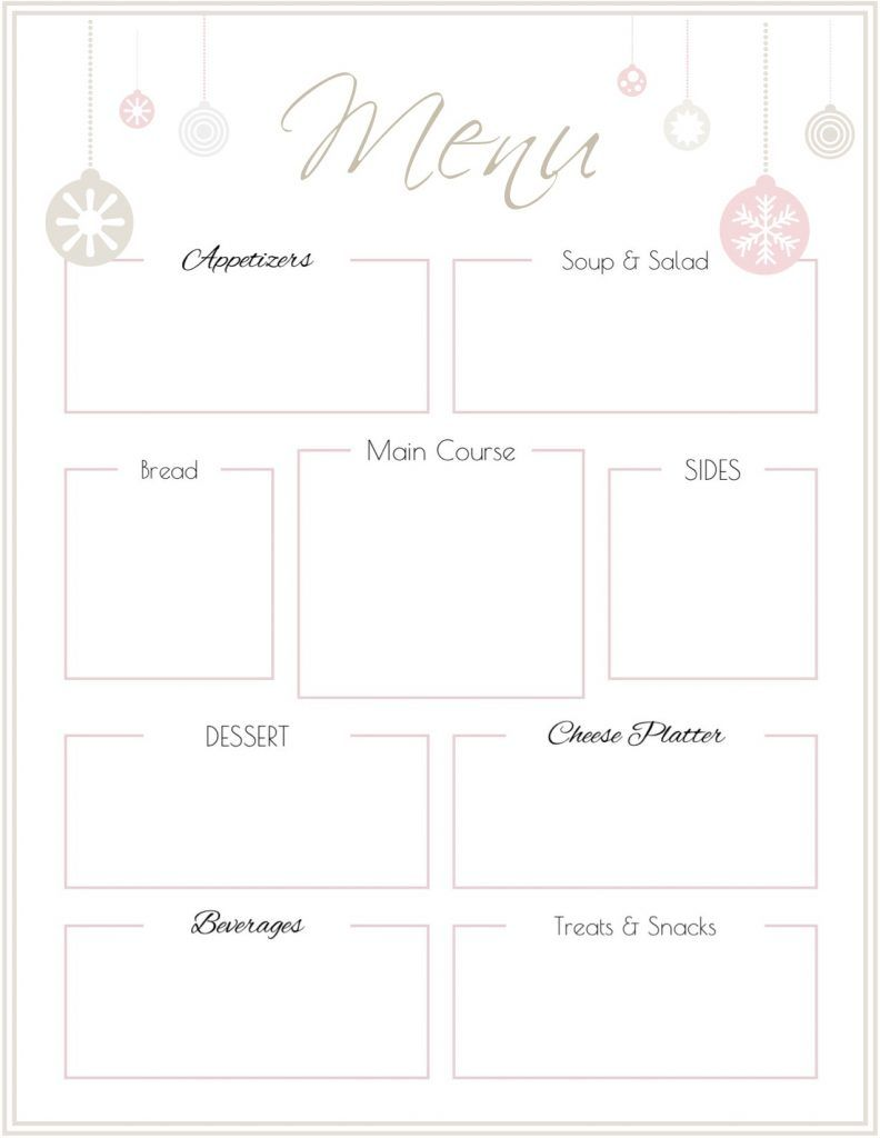 Holiday Party Menu Template Free Printable Printable Menu Template Free Printable Menu Free Printable Menu Template