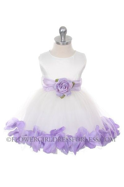 dfb0ac390b7 Flower Girl Dress Style 152-Choice of White or Ivory Dress with Lilac Sash  and Petals  49.99