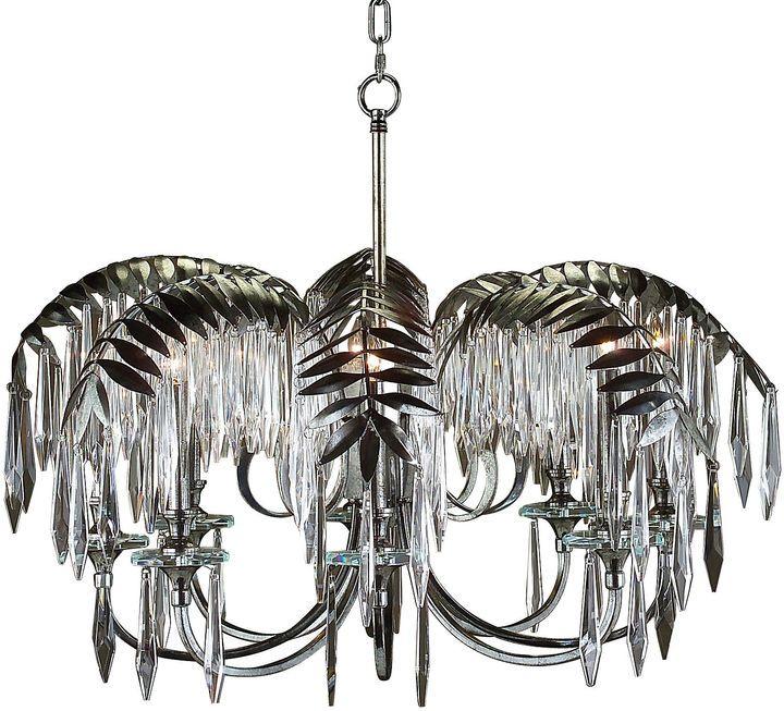 JohnRichard Palm Leaf 8Light Chandelier Nickel Lighting Lamps