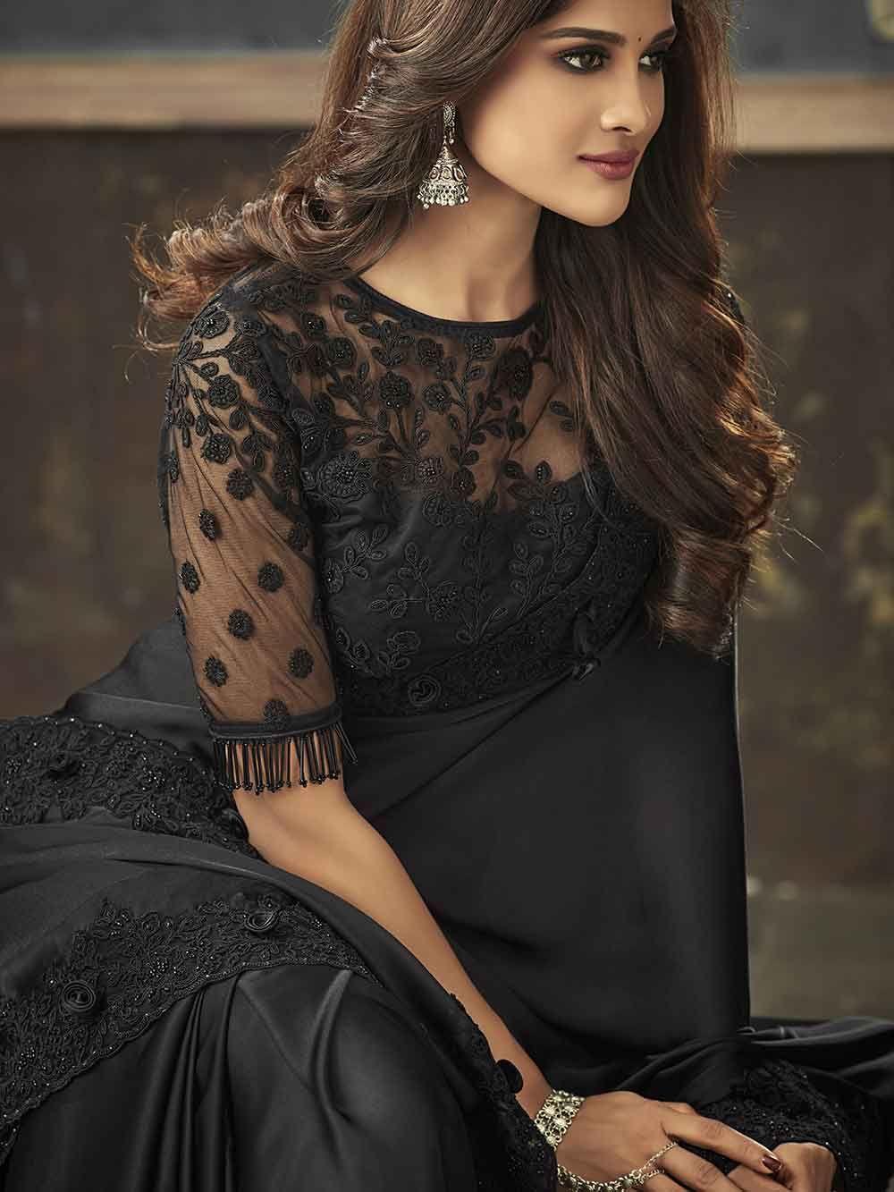 Black color designer party wear heavy embroidred saree