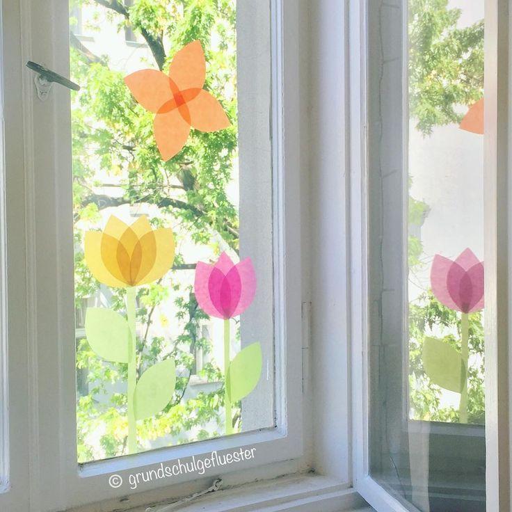 """Grundschulgefluester 🐝 on Instagram: """"Es ist mal wieder Zeit für eine neue Fensterdeko in meinem Klassenraum 🌷🌸🌼🦋 Die Kinder bekommen von mir jeweils eine Schablone in…"""""""