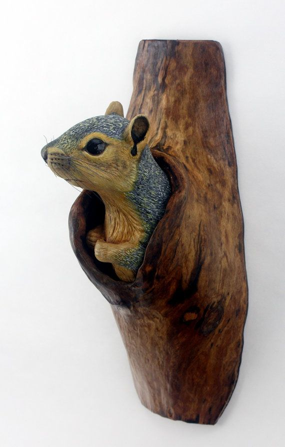 Wall sculpture squirrel wood carving hand carved by