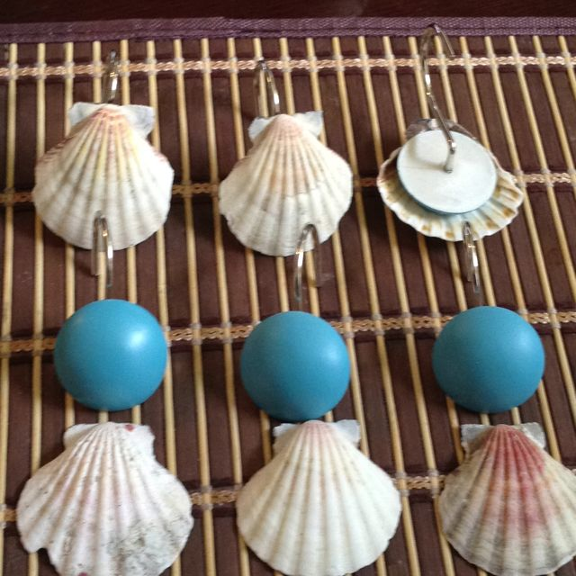 Diy Sea Shells Shower Curtain Hooks Sea Shell Decor Tropical