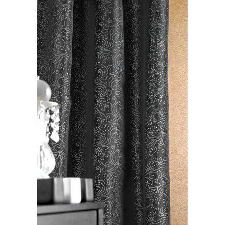 Rideau noir avec motif argent 140 x 260 | Rideaux, Voilages ...