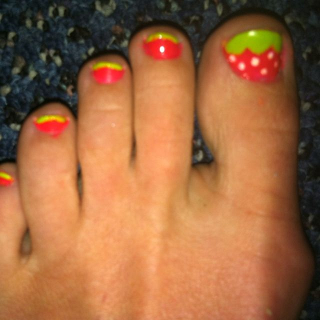 Strawberry toenails nails pinterest pedicures finger nail strawberry toenails pedicure ideasnail prinsesfo Image collections