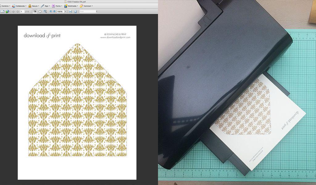 Free Gold Ornate Vintage Wedding Envelope Liner Download \ Print - sample envelope liner template