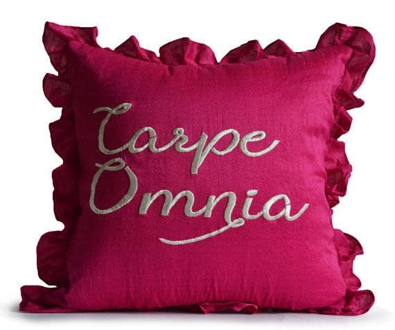 Dorm Throw Pillow Cover Carpe Omnia Decorative Pillow Cover