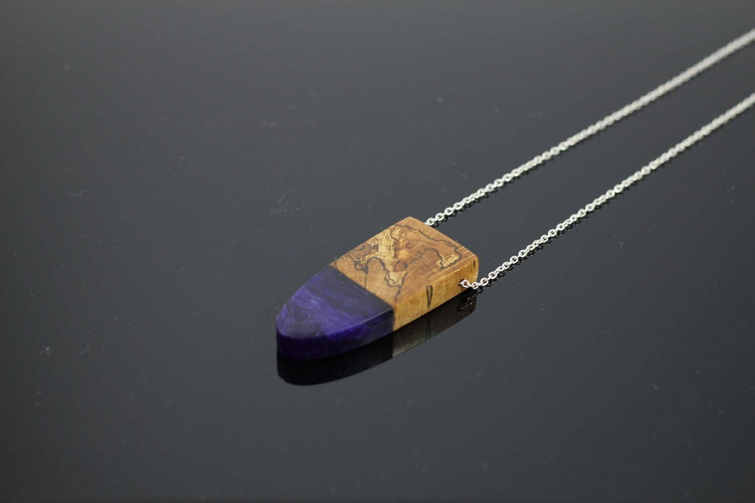 Pendant Necklace Handmade jewelry from UK sourced  wood with a mixture of Purple resin and white swirls. Silver Plated chain. Contemporary (27.73 GBP) by artfulresin