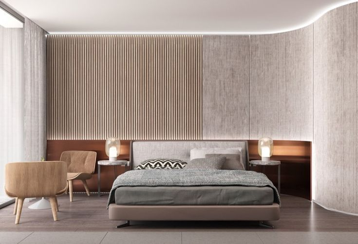 30 Ideen Fur Moderne Schlafzimmergestaltung Mit Lamellenwand In
