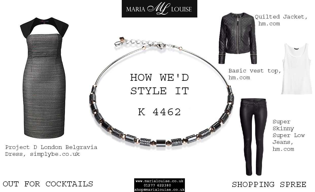 Arriving as part of #coeurdelion's AW13 collection is #necklace K 4462. Here's how we'd style it: #projectd #hm #simplybe #metallicdress #leatherjacket #leatherjeans #blackjeans #leather #swarovski #gold #diamondcut #swarovskielements #jewellery #outfitideas #dateoutfit #partyoutfit