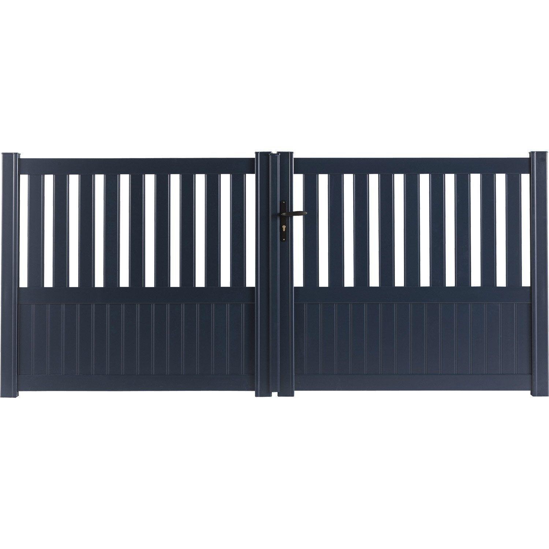 Portail Battant Aluminium Penmarch Gris Zingue Naterial L 350x H 135 Cm Leroy Merlin Meuble Maison Et Portail