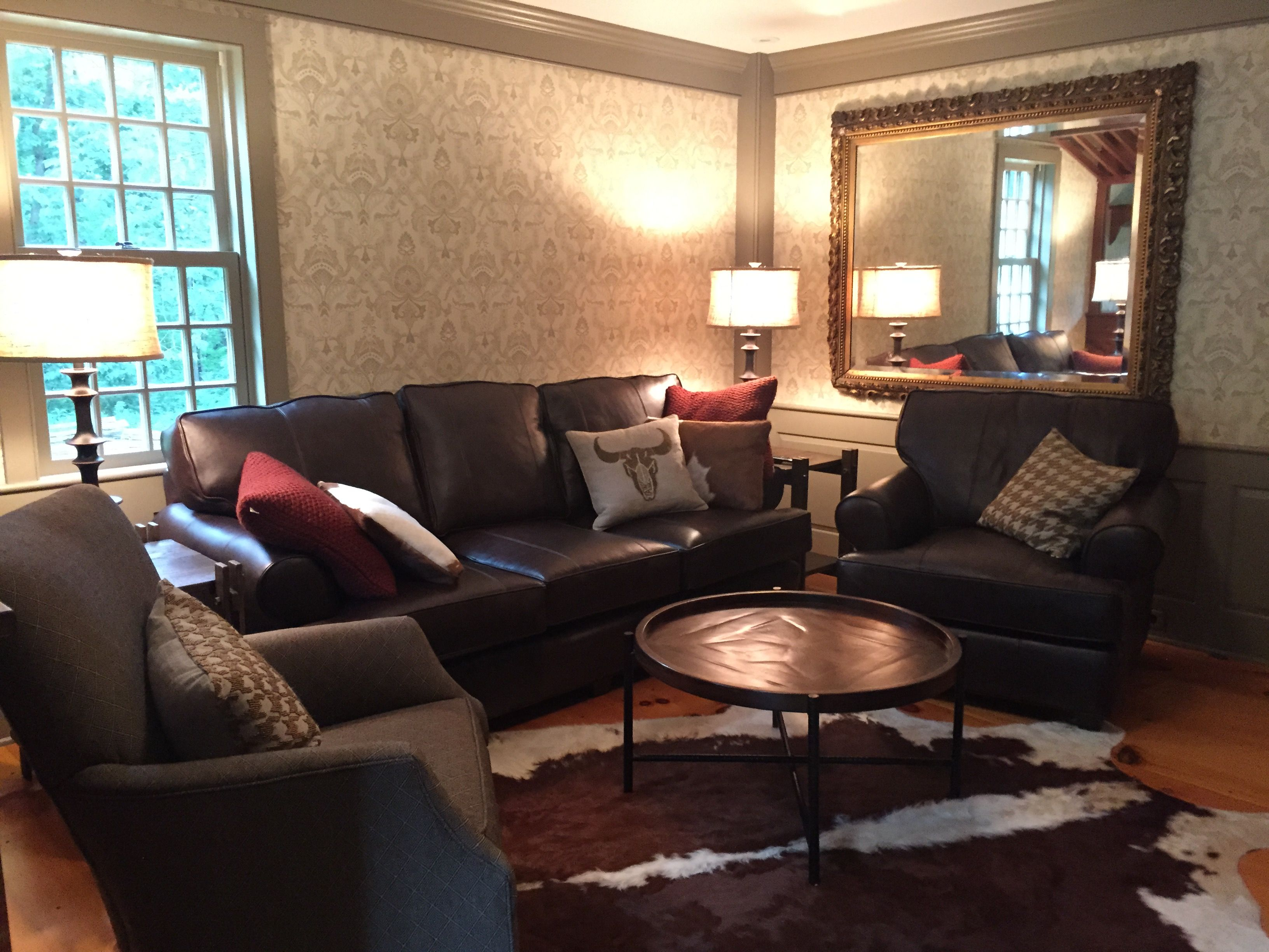 Arhaus Furniture Hadley Leather Sofa & Chair Desmond Bark Swivel