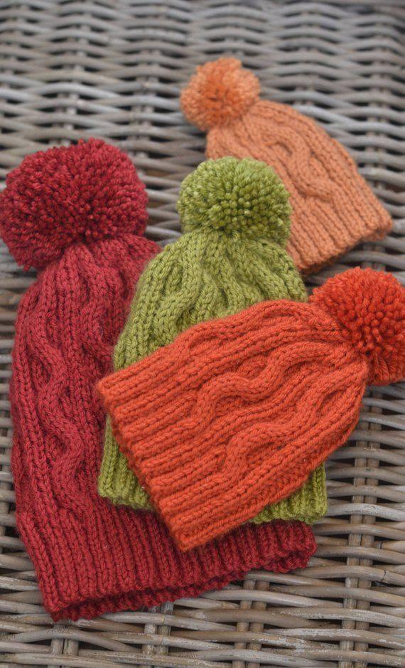 Bobble Hat knitting pattern 'Autumn' | Knitted hats ...
