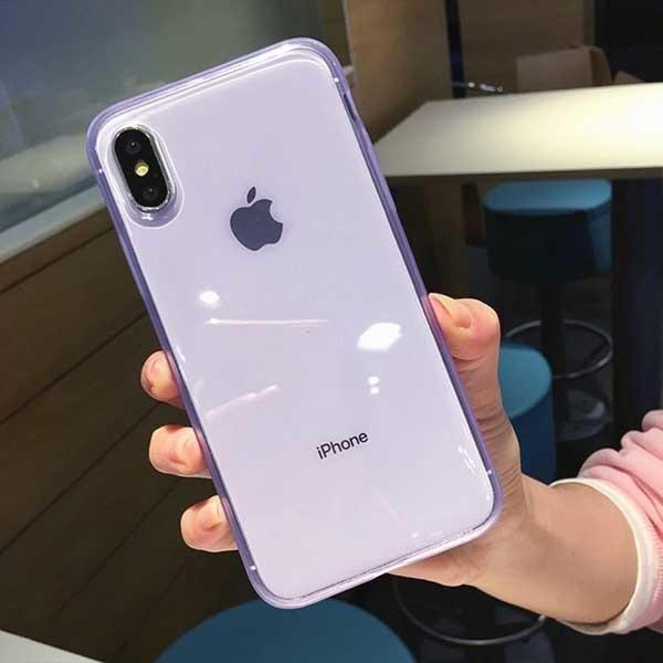 Anti shock Non slip Plain Cases For iPhone XS Max XR XS X 6 6s 7 8 Plus Hot Clear Transparent Soft TPU Phone Back Cover - Transparent Purple / For iPhone 7