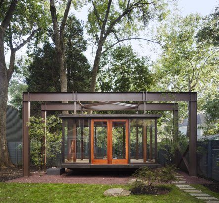 A hanging bronze and glass tea house!!!