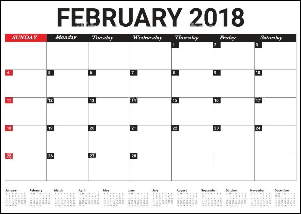 february 2018 desk calendar template