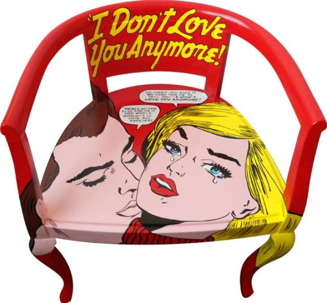 pop art chair i don 39 t love you anymore silvia zacchello sessel st hle beistelltische. Black Bedroom Furniture Sets. Home Design Ideas