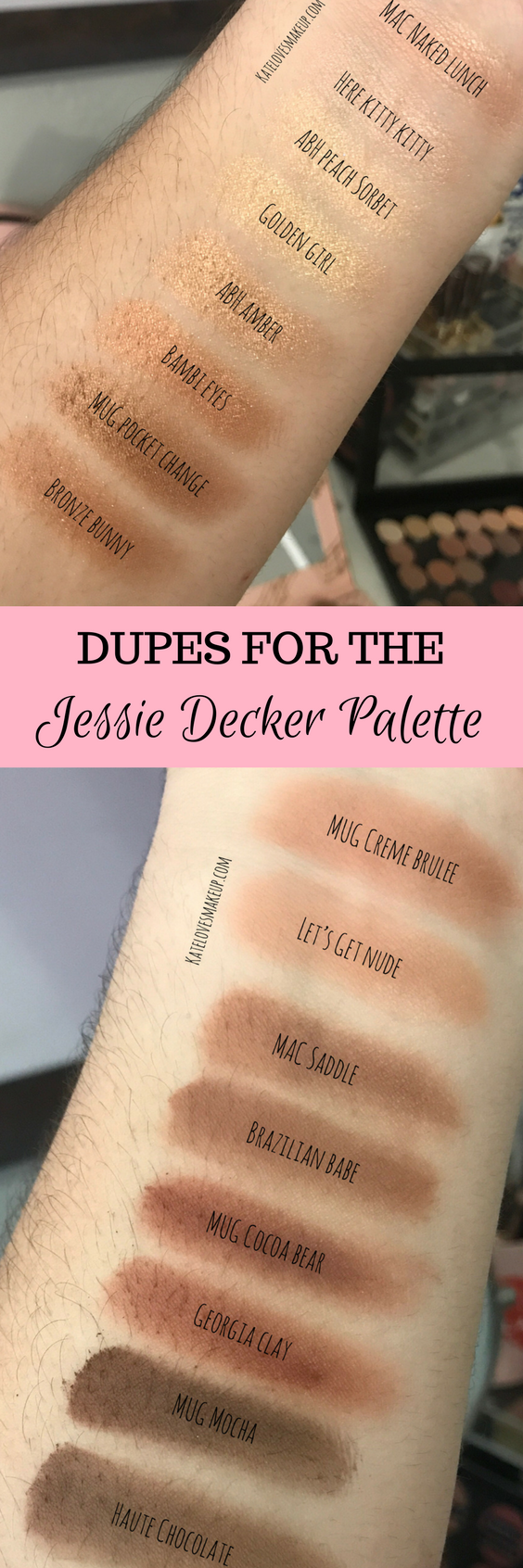 Review swatches and dupes of the Jessie Decker Palette