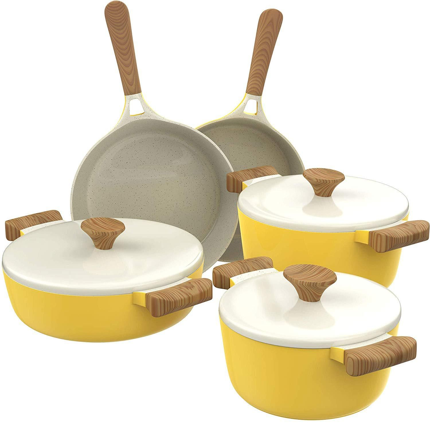 Homelabs Ceramic 8 Piece Cookware Set Compatible With Induction