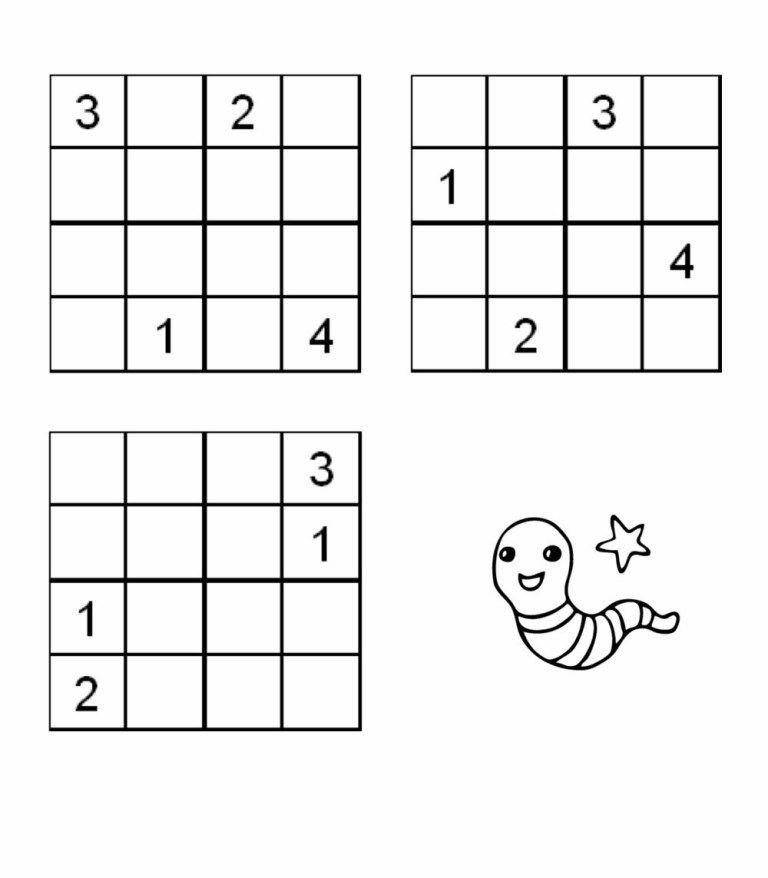Łatwe sudoku dla dzieci 4x4 do druku za darmo, online
