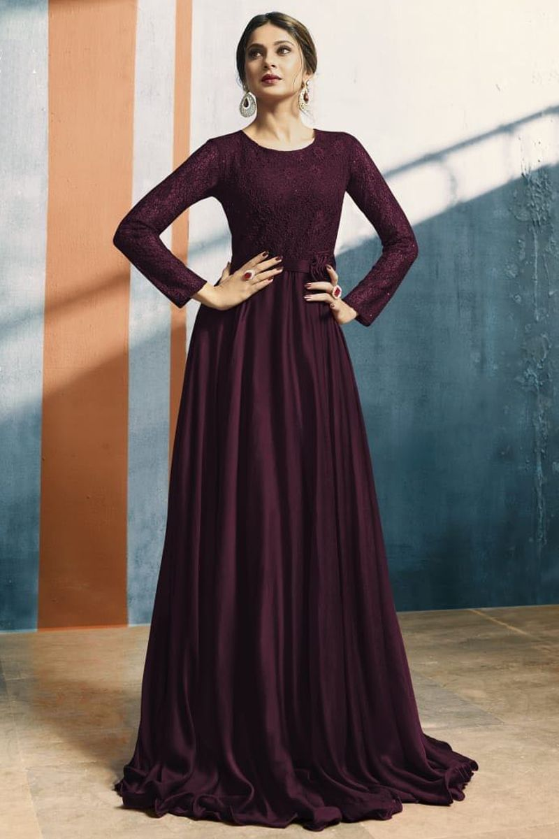Wine Color Fancy Reception Wear Long Sleeves Satin Silk Floor Touch Gown 3 27730 Whatsapp 91 9377709531 Wholesale Stylish Gown Simple Gowns Burgundy Gown [ 1200 x 800 Pixel ]