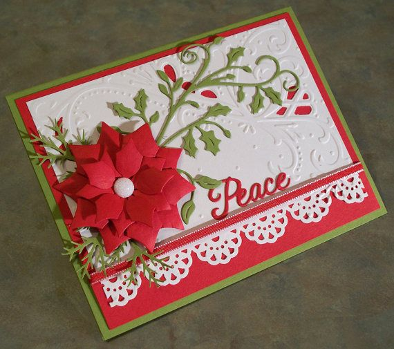 Large Die-Cut Poinsettia Christmas Card 4.25 x by WhimsyArtCards