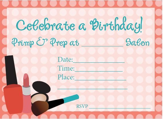17 Best images about Spa Labels Invitations – Teenage Girl Birthday Invitations Free Printable