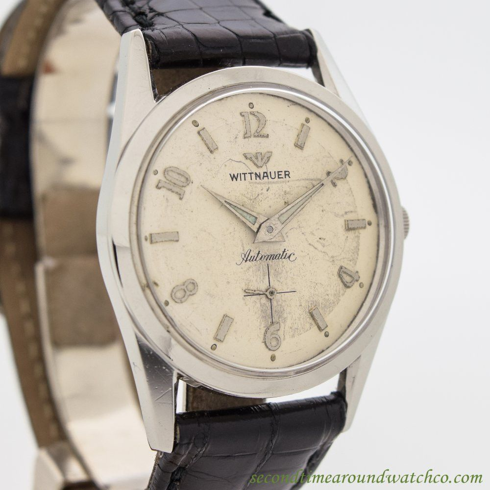 ca55c9a73711 1960 s Vintage Wittnauer Stainless Steel watch with Original Silver Dial  with Applied Steel Arabic 2