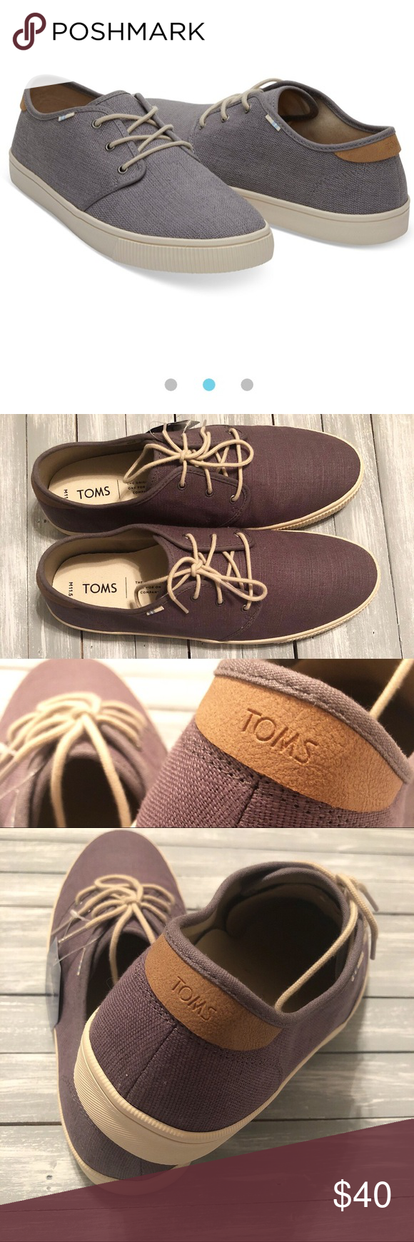 58dbcfdc8a4 NWT - Toms - Carlo Canvas Sneaker in Shade Grey canvas sneaker with light  tan accents. New with tags. Comes with a Stitchfix dust bag and Toms  sticker.