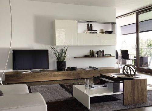 Contemporary Living Room Wall Unit Walnut Glossy Lacquered