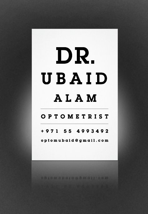 Creative Business Card For Eye Doctor Art Director Mohammed Fahim Khwaja Agency The Brand Builders Dubai Clien T Dr Ubaid Alam